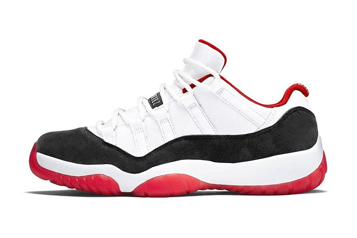 Air Jordan 11 Low Suede White University Red Black True Red Leak Av2187 160 Release Date Lateral