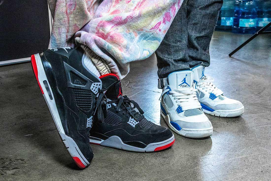 Air Jordan 4 On Foot Together