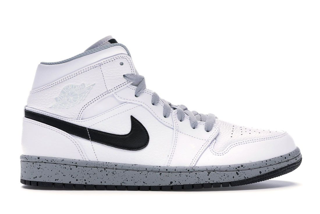 Air Jordan 1 Mid White Cement Lateral Side Shot