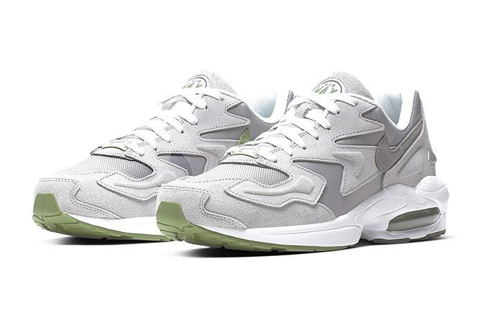 Nike Air Max2 Light Grey Chlorophyll Thre Quarter Lateral Side Shot