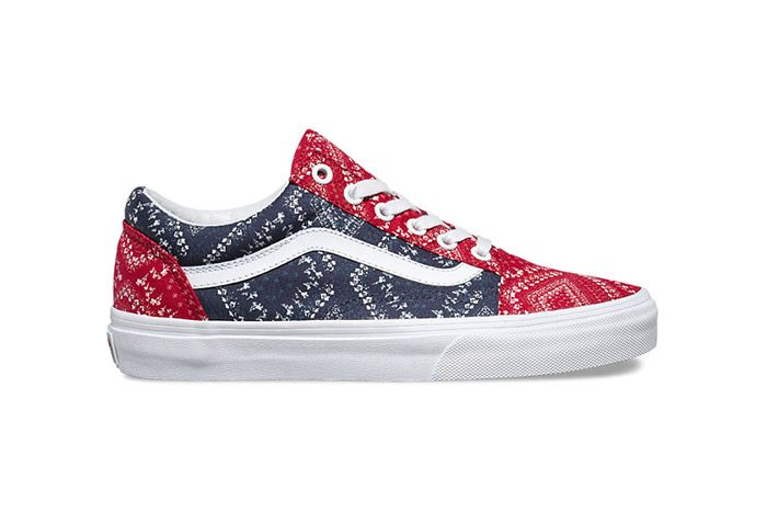 Vans Disty Bandana Womens Old Skool Red Blue