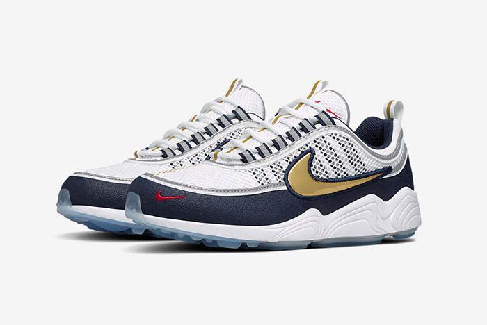 Nike Air Zoom Spiridon White Gold Navy Blue 2