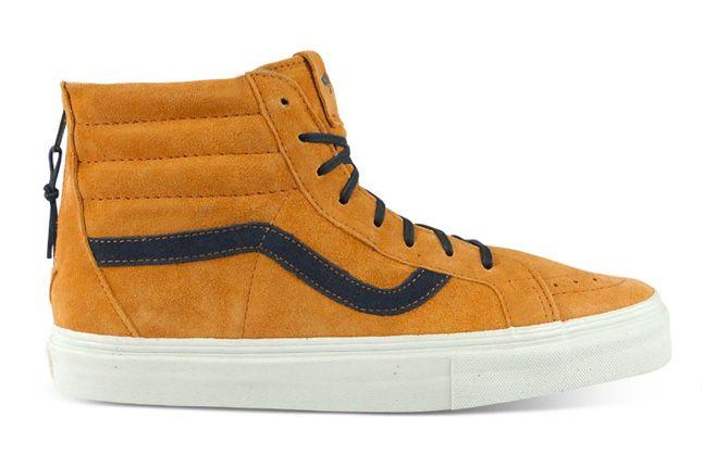 Vans Vault Sk8 Hi Zip Lx Light Brown Dark Blue 1