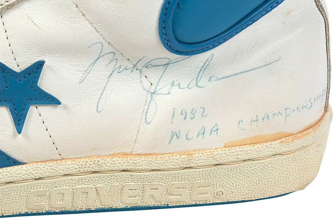 1981 82 Michael Jordan Signed Inscribed Pair Of North Carolina Tar Heel Game Worn Shoes From Freshman Ncaa Championship Season 4