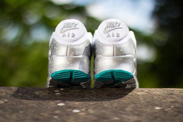 Nike Air Max 90 Speckle White Metallic Silver Turbo Green 3
