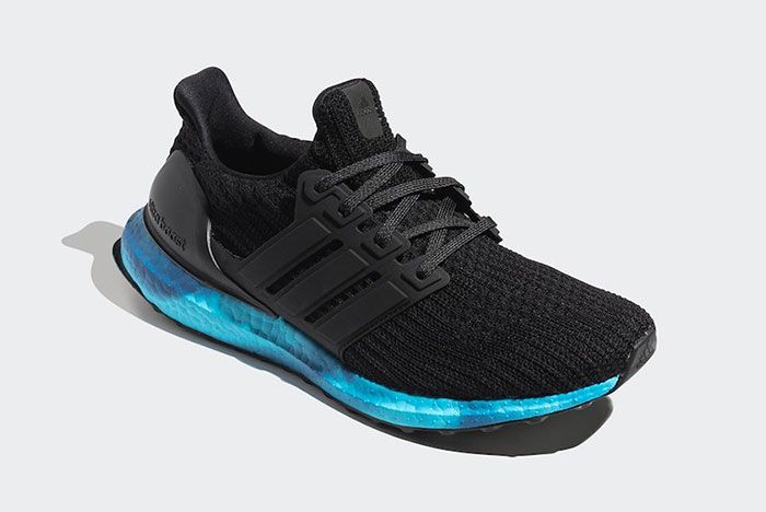 Adidas Ultra Boost Black Blue Fv7281 Front Angle
