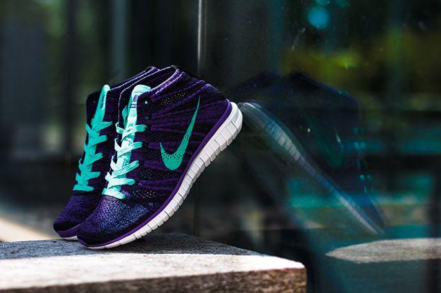 Nike Wmns Free Flyknit Chukka Court Purple Hyper Jade 4