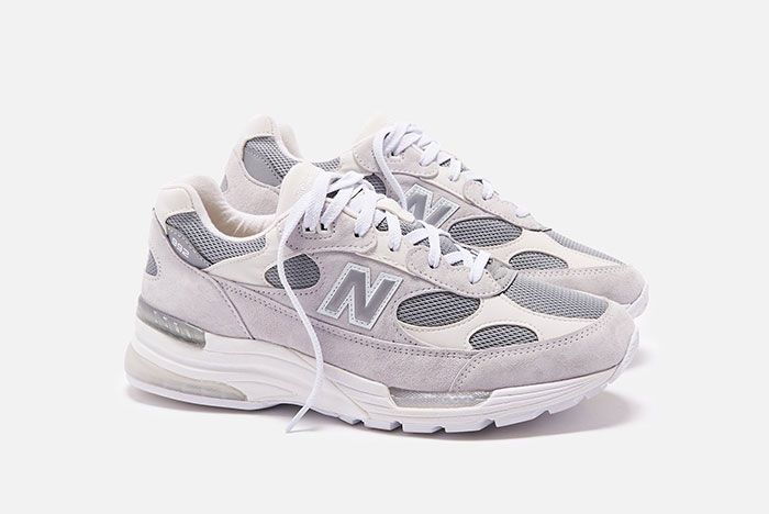 New Balance 992 White Silver Front Angle