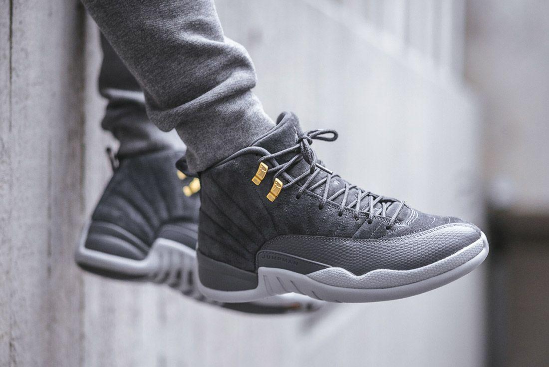 On Foot Air Jordan 12 Dark Grey4