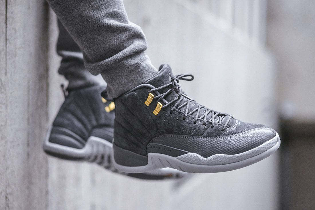 On Foot Air Jordan 12 Dark Grey4