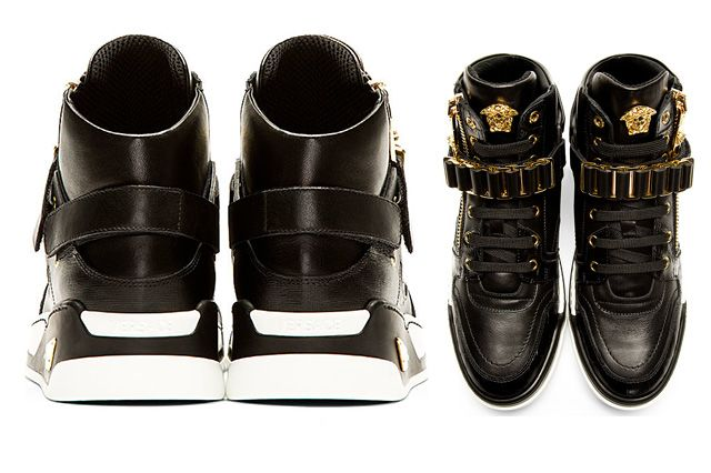 Versace Black Leather High Top Bcooc 3