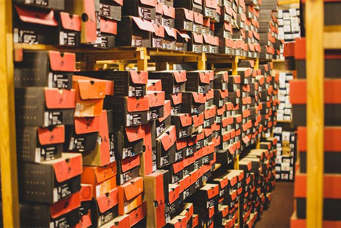 Shoe Boxes Stacked Shelves
