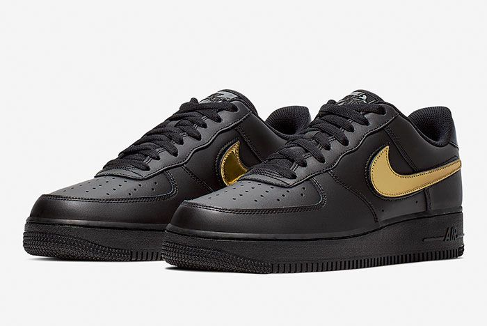Nike Air Force 1 Blk Gld Ct2252 001 Front Angle