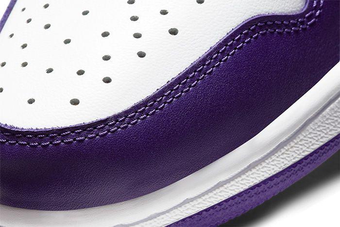 Air Jordan 1 Court Purple toe detail shot