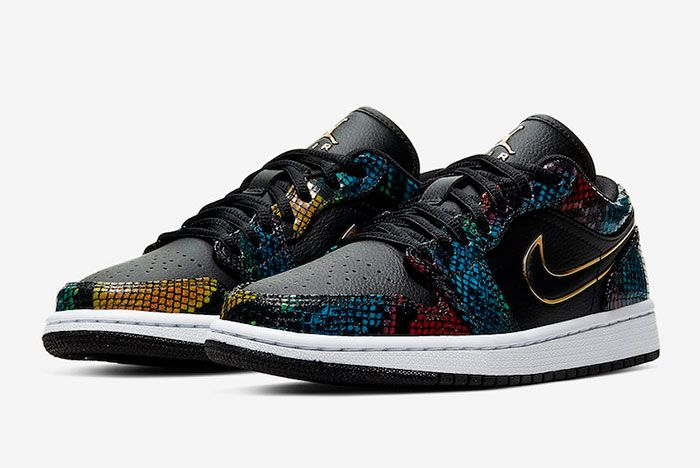 Air Jordan 1 Low Multicolor Snakeskin Cw5580 001 Three Quarter Lateral Side Shot