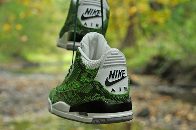 Jbf Customs Jordan 3 Green Python
