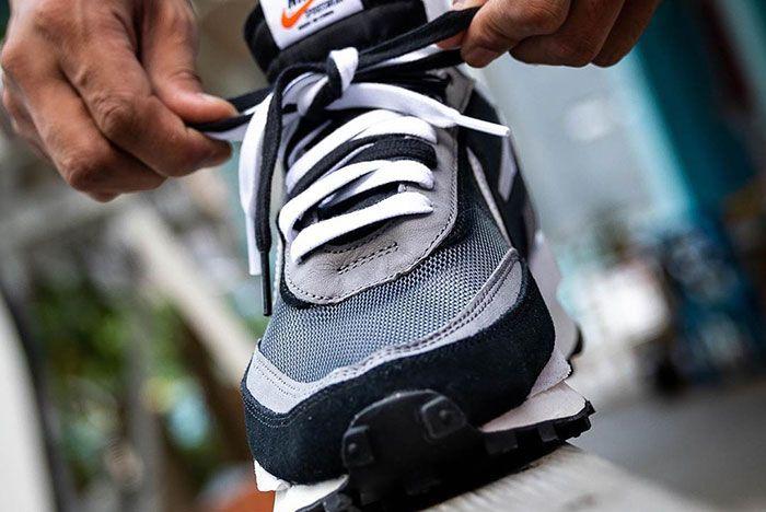 Sacai Nike Ldwaffle Black White Grey On Foot1