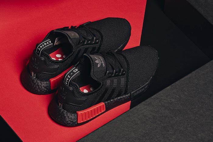 Adidas Nmd R1 Core Black Lust Red 2