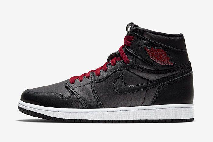 Air Jordan 1 Black Satin Gym Red 555088 060 Lateral