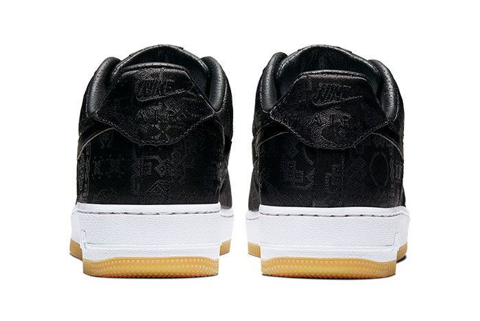 Nike Air Force 1 Clot Black Silk Right Rear Heels
