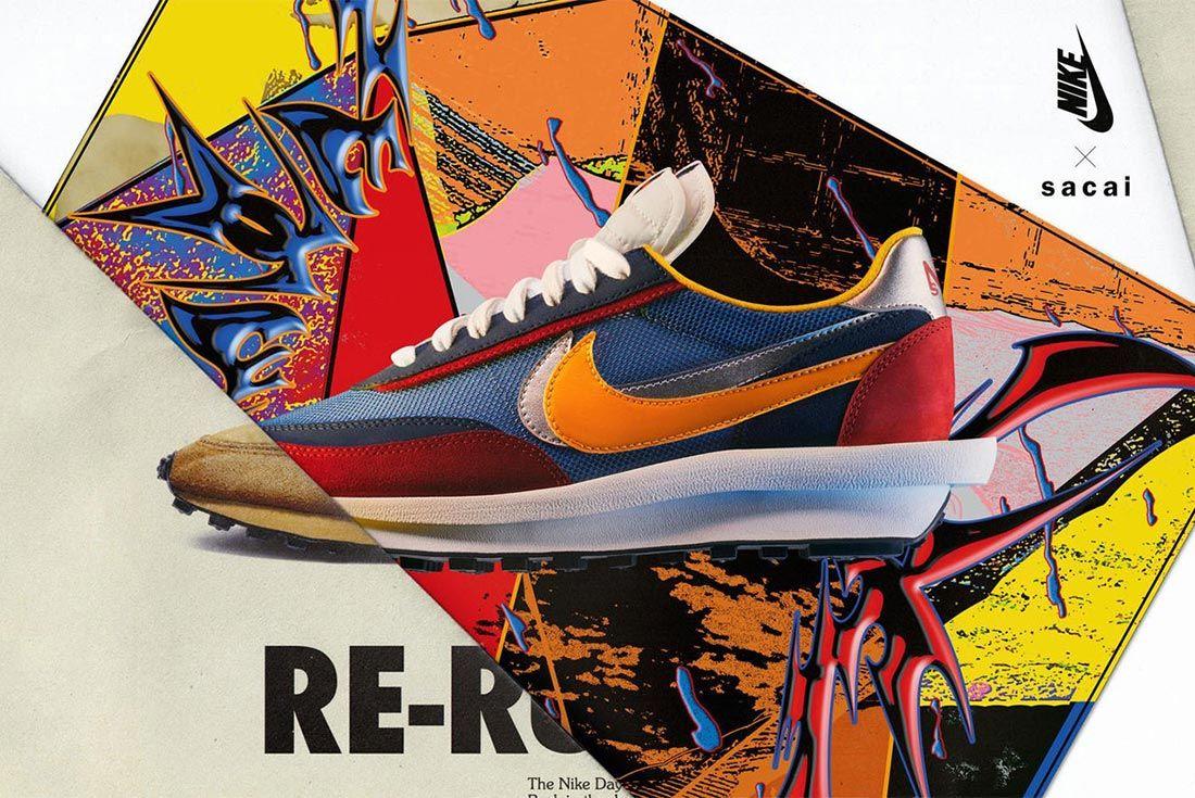 Sacai Nike Ldv Waffle Daybreak Blue Red Orange Lateral Side Shot