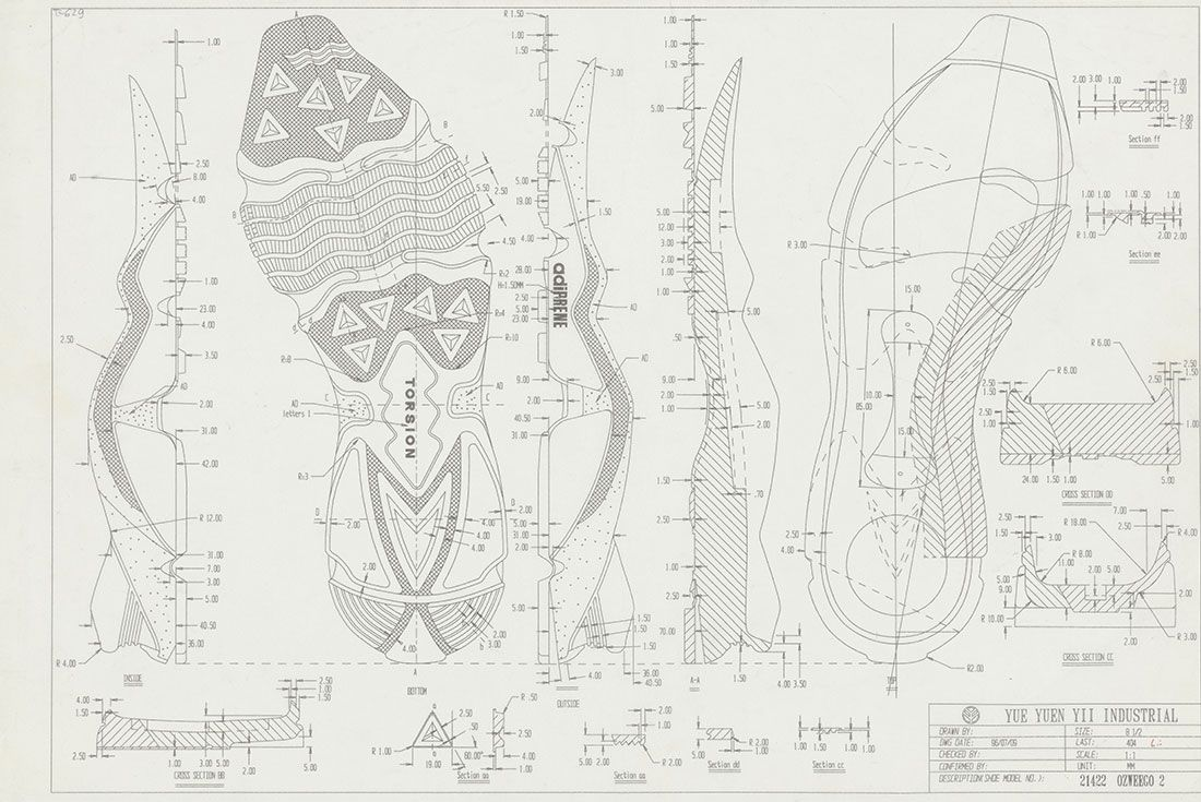 Adidas Ozweego History Sketch Cross Section