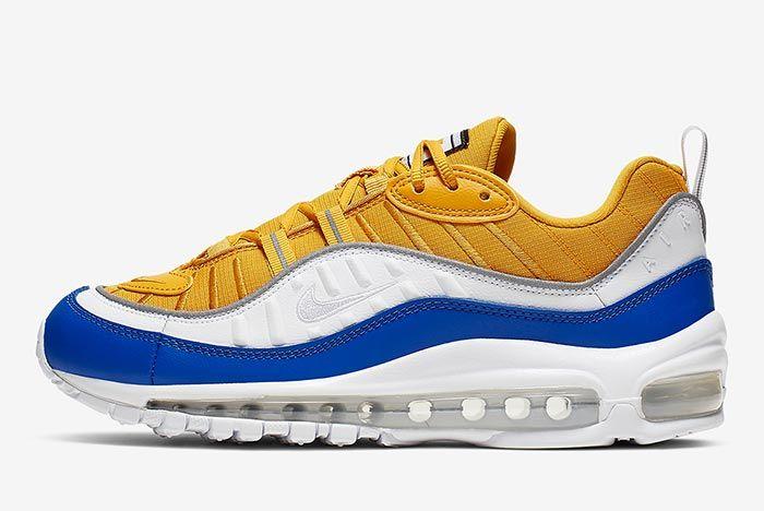 Nike Air Max 98 Yellow White Blue At6640 700 Lateral
