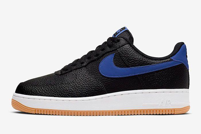 Nike Air Force 1 Black Game Royal Gum Ci0057 001 Lateral