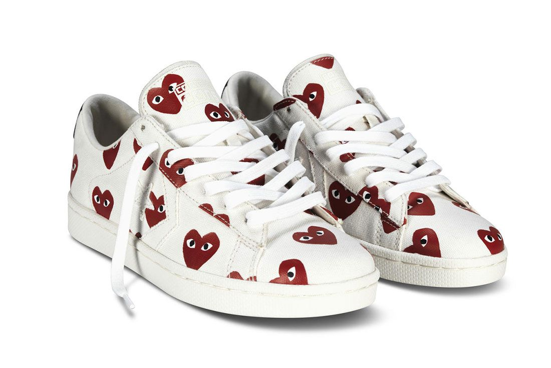 Comme Des Garcons Converse Pro Leather White Front Angle