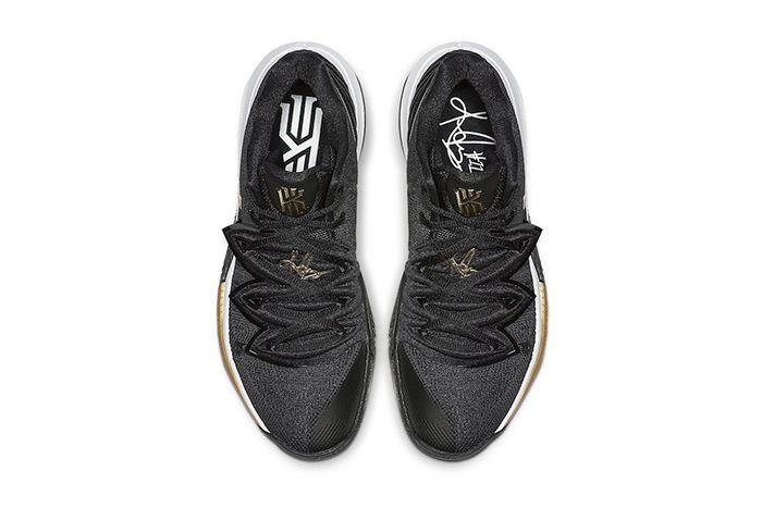 Nike Kyrie 5 Black Metallic Gold Ao2918 007 Release Date Top Down