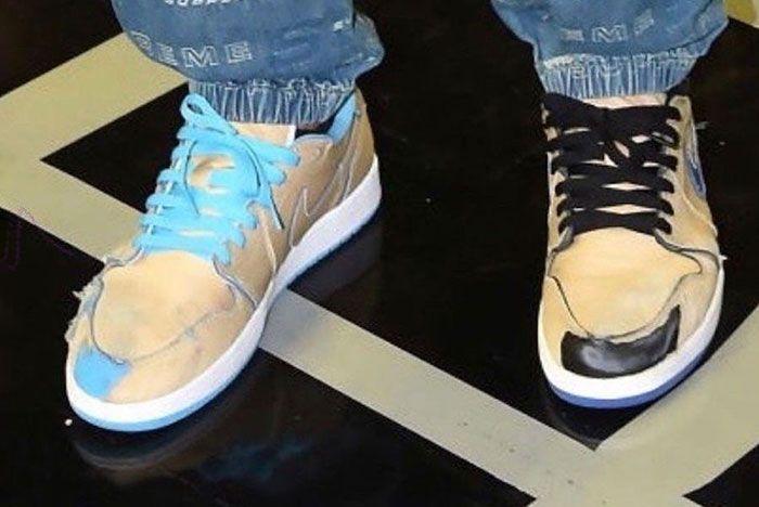 Nike Sb X Air Jordan 1 Low Desert Ore Royal Blue Dark Powder Blue On Foot