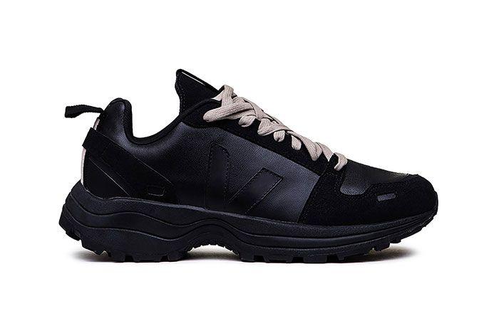 Rick Owens Veja Sustainable Black Sneaker Lateral Side Shot