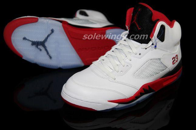 Jordan 5 Fire Red Black Tongue 2013 Pair 1