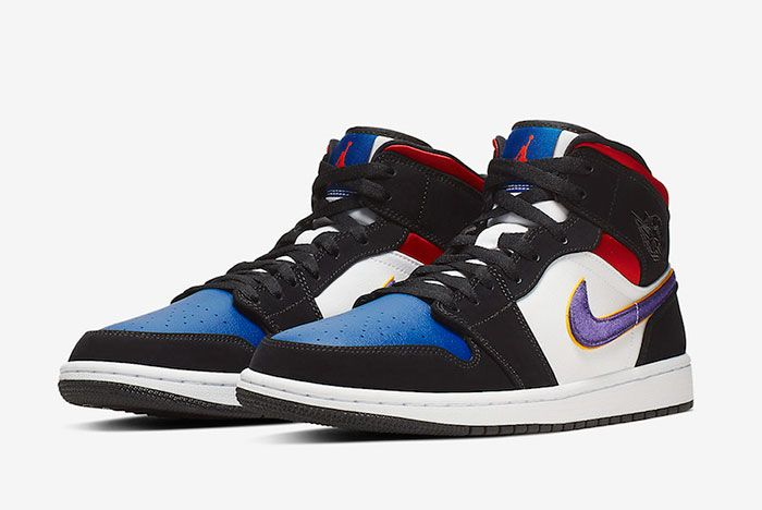 Air Jordan 1 Mid Se Field Purple White Gym Red 852542 005 Front Angle