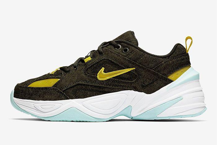 Nike M2K Tekno Denim Green Yellow Left