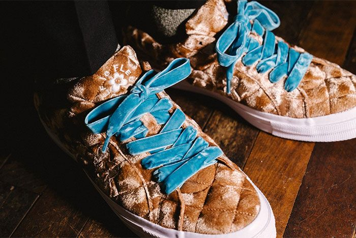 Golf Le Fleur Converse All Star Quilted Brown On Feet Close Up View