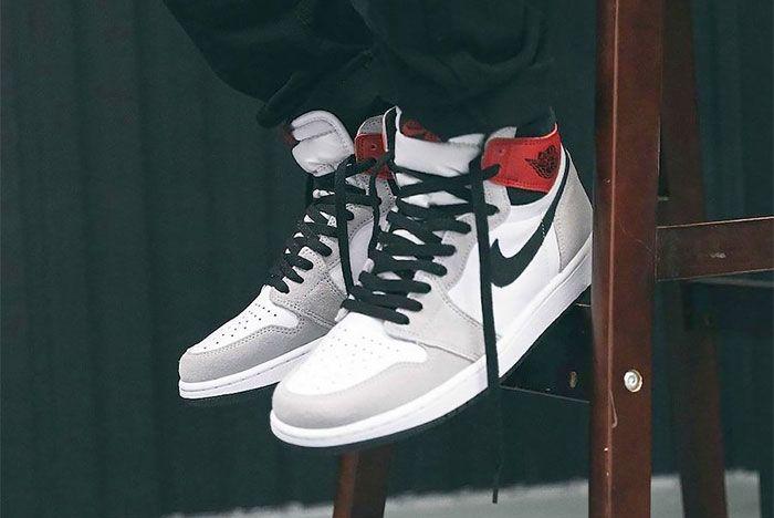 On Foot Air Jordan 1 High Og Light Smoke Grey Left