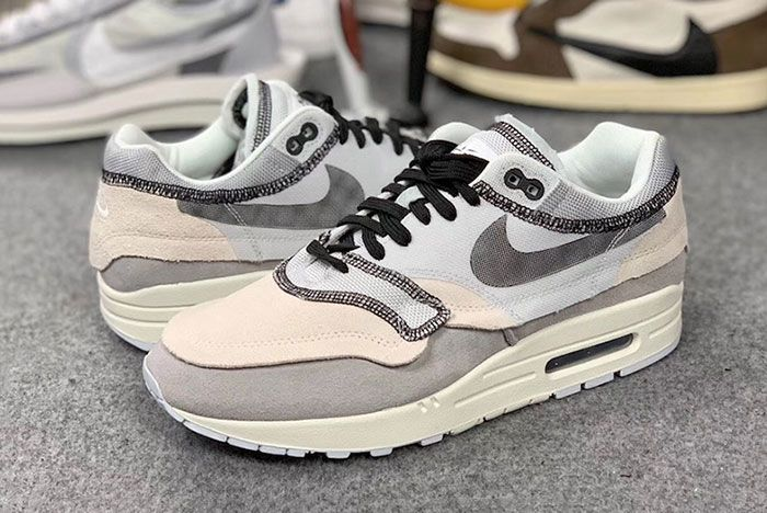Nike Air Max 1 Inside Out White Black Grey 5 Pair Side