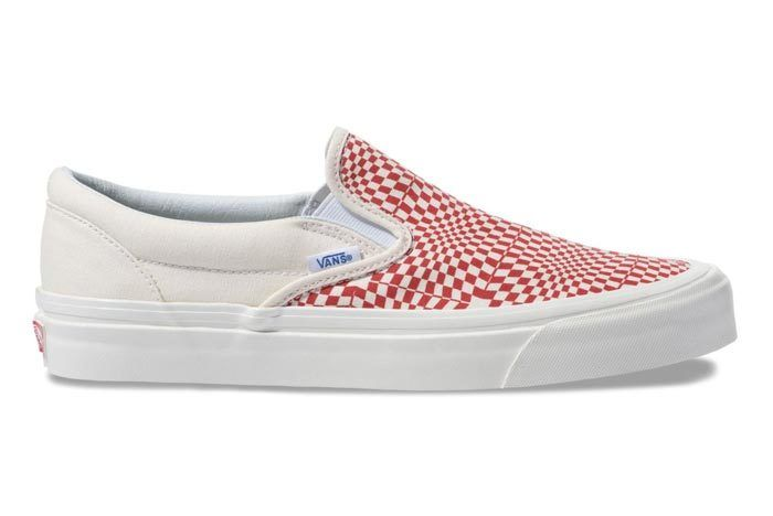 Vans Warp Check Slip On Red 3