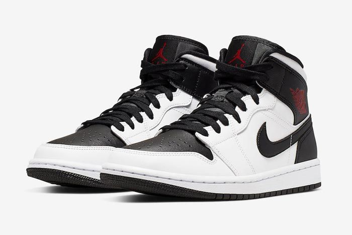 Air Jordan 1 Mid White Black Red Pair