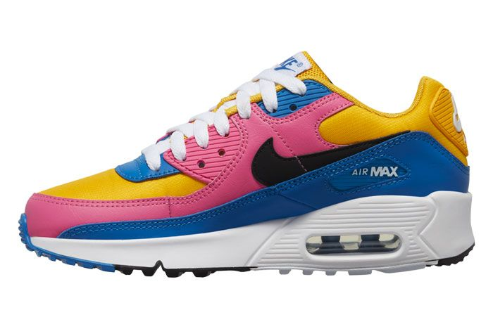 Nike Air Max 90 Pink Blue Yellow Left