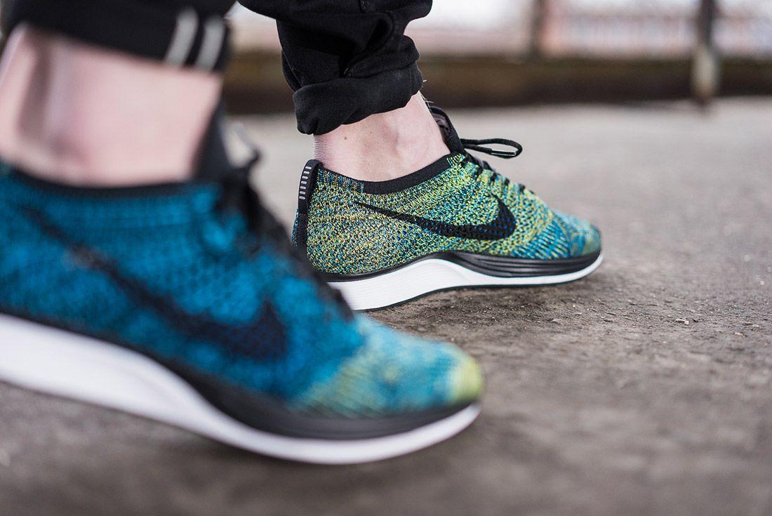 Nike Flyknit Racer Blue Glow On Feet 1