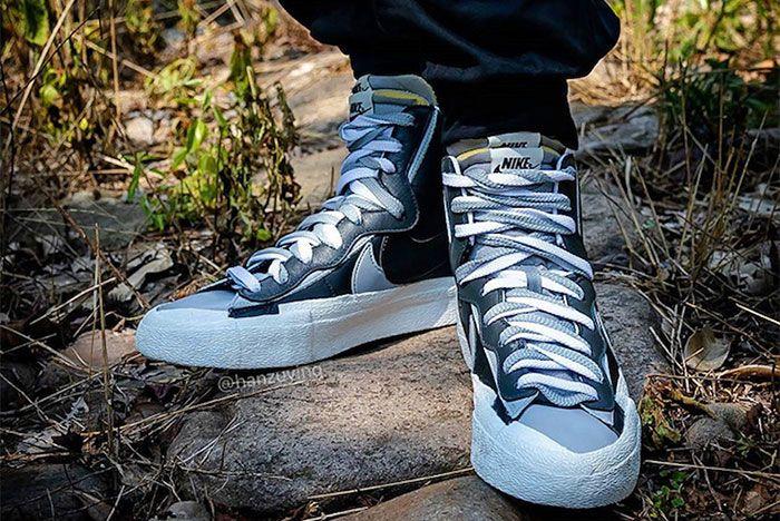 Nike Sacai Blazer Mid Grey Black Toe