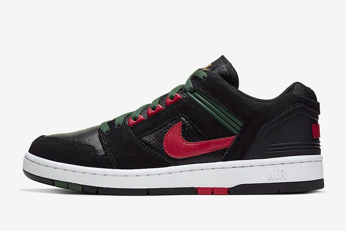 Nike Sb Air Force 2 Low Black Deep Forest Gym Red Ao0300 002 Lateral