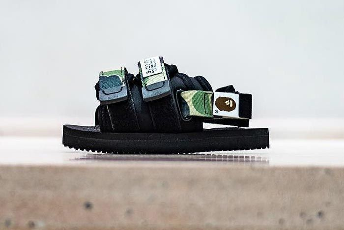 Bape Suicoke Black Abc Camo Lateral Side Shot