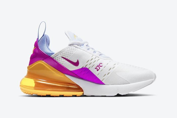 Nike Air Max 270 White Orange Pink Blue Yellow Medial