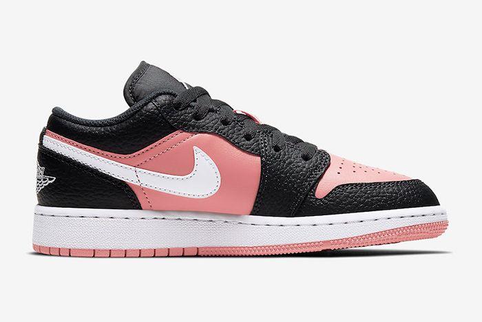 Air Jordan 1 Low Gs Pink Quartz 554723 016 Medial Side Shot