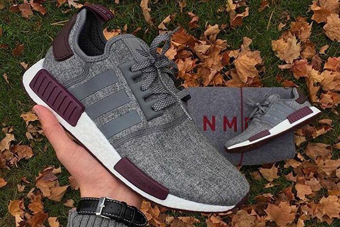 Adidas Nmd R1 Grey Wool Maroon