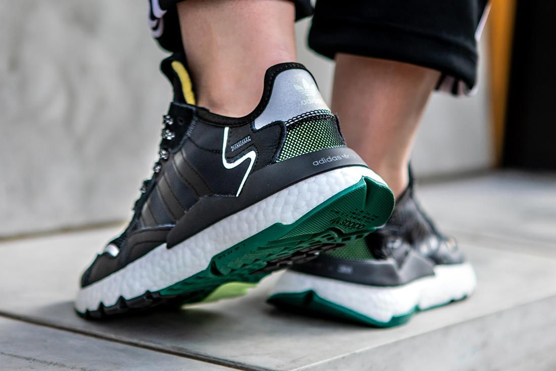 On Foot Adidas Nite Jogger Black Lifted Heel