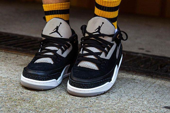 Tinker Air Jordan 3 Black Cement On Foot 4